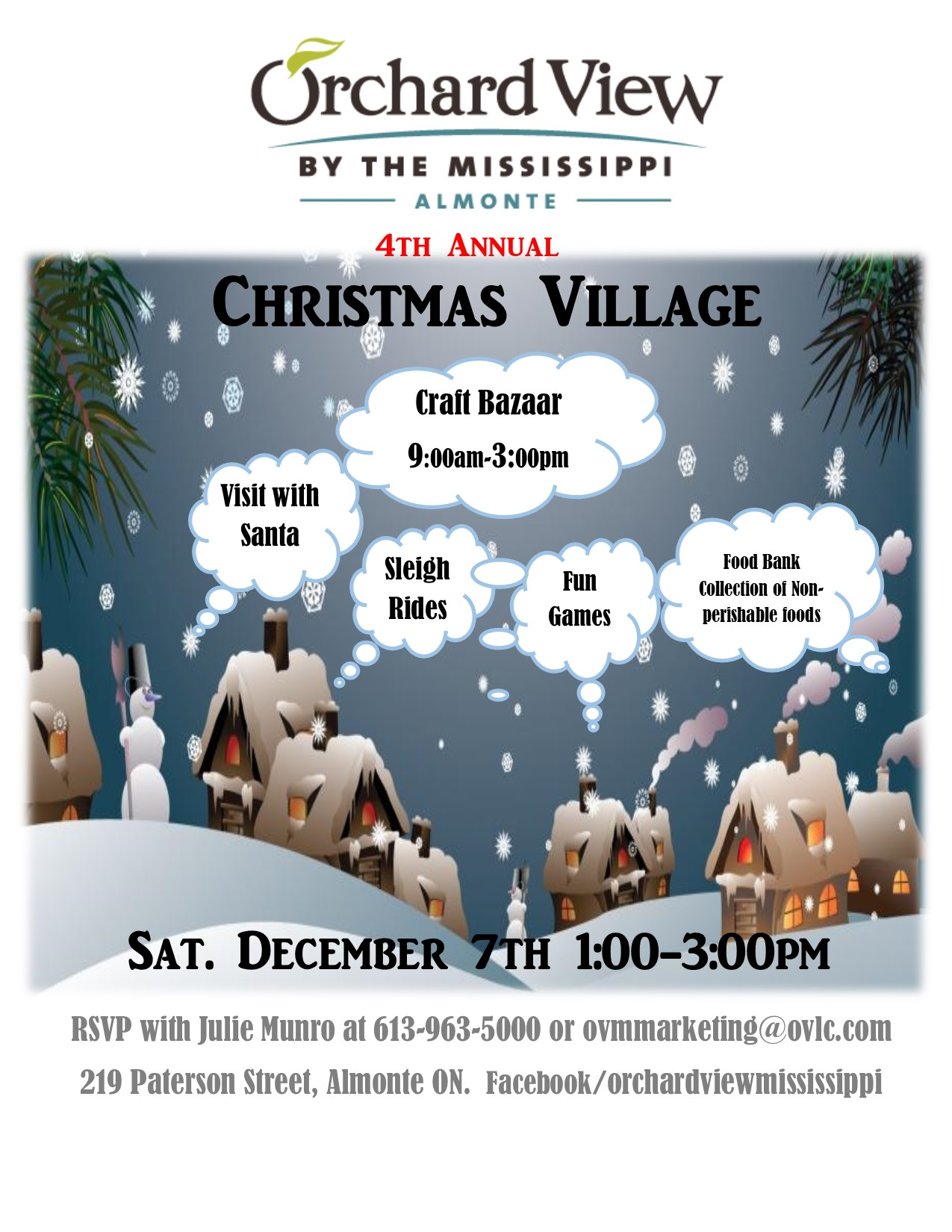 Orchard View by the Mississippi Christmas Village 2019 Dec 7th. 10am to 3pm for unique vendors and Christmas fun with Santa