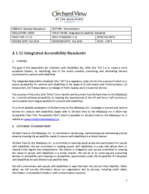 A 1.12 Integrated Accessibility Standards – AODA – OVM